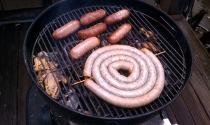 Sausages ready for indirect grilling