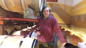 Miguel Martin in the cask room at Palmer Vineyards